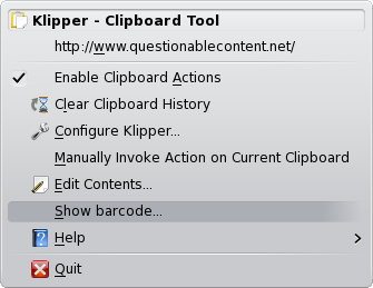 show barcode option in klipper menu