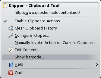 show barcode option in klipper menu